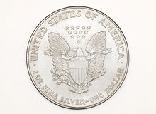 Isolated silver coin stock photography