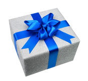 Isolated silver gift box with elegant blue bow Stock Photo