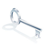 Isolated silver key Royalty Free Stock Photos