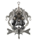 Isolated silver skull composition. Stock Image