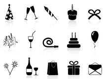 Black celebration icons set. Isolated simple black celebration icons set on white background Stock Images