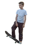 Isolated skater. An image of a young highlighted haired skateboarder isolated on white for ease of use stock image