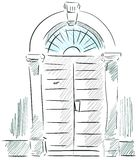 Isolated sketch of a doorway. Image representing a stylized isolated ancient doorway Stock Photos