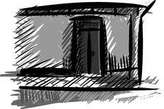 Isolated sketch of a doorway Royalty Free Stock Photos