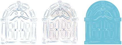 Isolated sketch of a doorway stock photos
