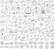 Isolated sketch objects bundle. Mega set of vector doodles. Hand drawn funny things. Black on white packground. Dotted Stock Photography
