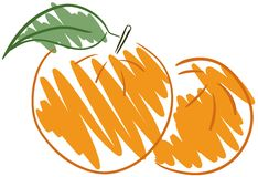 Isolated sketch of an Orange fruit Royalty Free Stock Images