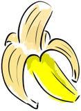 Isolated sketch of a Peeled banana Stock Photos