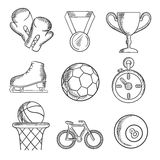 Isolated sketched sport games icons Royalty Free Stock Photo