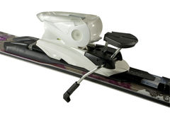 Isolated Ski Binding. Close Up Ski Binding on Isolated White Background Stock Photos