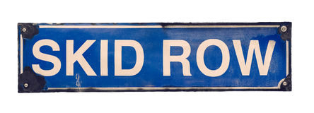 Isolated Skid Row Street Sign Stock Photos