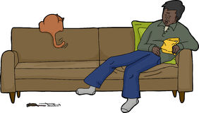 Isolated Sleeping Man with Excited Cat. Cartoon of isolated man with cat chasing mouse Royalty Free Stock Photography
