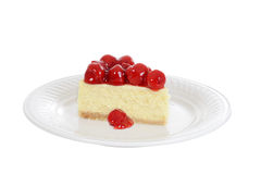 Isolated slice cherry cheesecake Royalty Free Stock Images