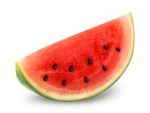 Isolated slice of watermelon. Clipping path included royalty free stock photography