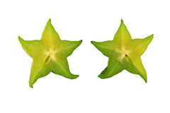 Isolated sliced Star fruit on white background