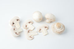 The isolated sliced white mushrooms Royalty Free Stock Photo