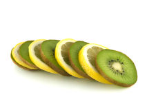 Isolated slices of lemon and kiwi. Fresh fruit. Isolated slices of lemon and kiwi (white background). Fresh diet fruit. Healthy fruit with vitamins Stock Image