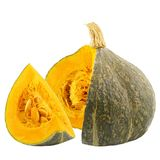Isolated slices pumpkins on white background. With clipping path for package design Stock Photos