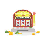 Isolated slot machine. Isolated slot machine on white background. 777 with golden coins Royalty Free Stock Photo