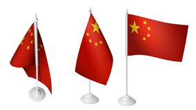 3 Isolated Small China Desk Flags 3d Realistic China Flag stock illustration