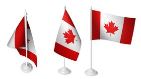 Isolated 3 Small Desk Canada Flag waving 3d Realistic Canadian Desk Flag. Imagen Royalty Free Stock Photography