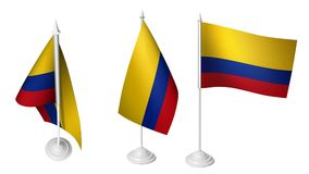 Isolated 3 Small Desk Colombia Flag waving 3d Realistic Colombian Desk Flag. Image stock photo