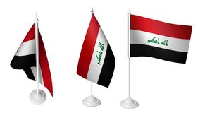 Isolated 3 Small Desk Iraq Flag waving 3d Realistic Iraqi Desk Flag vector illustration