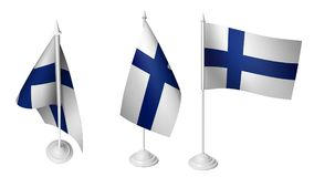 Isolated 3 Small Finland Flag waving 3d Realistic Finland fabric. Photo Stock Photography