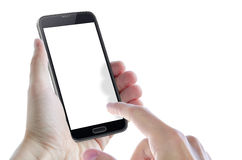 Isolated smart phone in hands. Isolated smart phone in hand with hand showing Royalty Free Stock Images