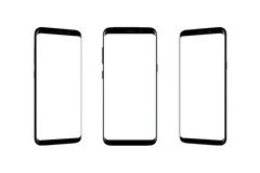 Isolated smart phone in three position. Modern black mobile with thin rounded edges Stock Photos