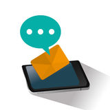 Isolated smartphone and sms design. Smartphone bubble and sms icon. Email message marketing media and communication theme. Isolated design. Vector illustration Royalty Free Stock Photos