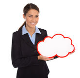 Isolated smiling businesswoman holding red white sign in her han Royalty Free Stock Photography