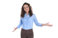 Isolated smiling businesswoman making presentation with hands. Stock Image