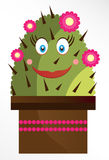 Isolated smiling cactus on white background Royalty Free Stock Images