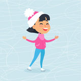Isolated Smiling Cartoon Girl Skating on Icerink Stock Photos