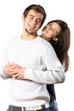 Isolated smiling couple Royalty Free Stock Images