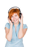 Isolated Smiling Girl Listening To Music Royalty Free Stock Image