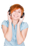 Isolated Smiling Girl Listening To Music Stock Image