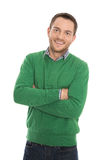 Isolated smiling man with green pullover on white. Royalty Free Stock Image