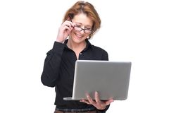 Isolated Smiling Woman and her Laptop Royalty Free Stock Photo