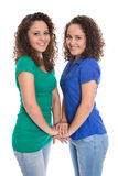 Isolated smiling young girls: real twin siblings holding hands t Stock Photography