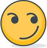 Isolated smirk emoticon. Isolated emoticon. Isolated smirk emoticon. Isolated emoticon on white background Royalty Free Stock Image
