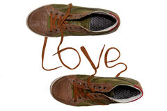 Isolated sneakers in love Stock Photography