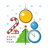 Happy 2018 new year flat thin line vertical colorful greeting card design. Isolated snow flakes, gift box, star, tree, clock, candy & balls on white background Stock Photo