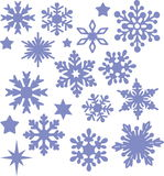 Isolated  snowflakes and stars. Set of blue isolated  snowflakes and stars on a white background Stock Image