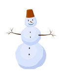 Isolated Snowman with Bucket on Head. Winter. Isolated snowman carrot instead nose with bucket on head and buttons in cartoon style. Two branches instead hands Royalty Free Stock Photos