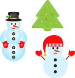 Isolated Snowman and Green Christmas Tree Illustartions Royalty Free Stock Image