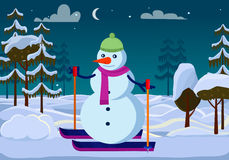 Isolated Snowman on Skies outside. Trees. Evening. Isolated snowman with carrot instead nose on skis in cartoon style. Snowman outdoors in green hat and violet Royalty Free Stock Image