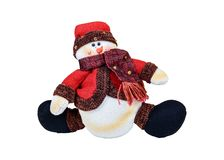 Isolated snowman toy on a white background stock photo