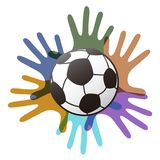 Isolated soccer ball on color hands. From white background Stock Images